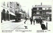 Derbyshire Postcard - Old Chesterfield - High Street & Tramcar No.7 c1905 -A1784