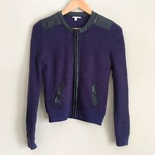HALOGEN Faux Leather Trim Navy Boucle Moto Jacket Sz XS