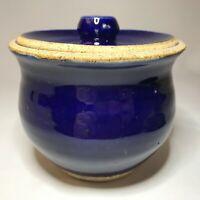 "Studio Art Pottery Lidded Bowl Cobalt Blue Interior White Speckled Signed ""M"""