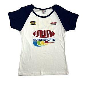 NASCAR Womens XL Shirt Top Jeff Gordon White Stretch Tee 2-Sided Front & Back