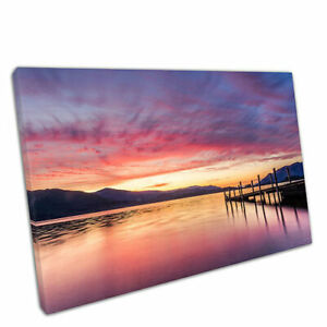 """Print on Canvas Sunset At Ashness Jetty In Keswick The Lake District 30x20"""""""