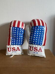 USA Flag Retro Leather Boxing Gloves 10oz