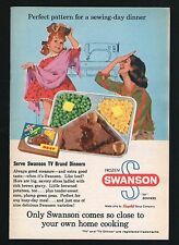 1960 SWANSON TV DINNER FOOD AD~BEEF~MOTHER & DAUGHTER~SEWING MACHINE