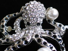 "SILVER PEARL SEA CREATURE OCTOPODES OCTO OCTOPI OCTOPUS PIN BROOCH JEWELRY 2"" 3D"