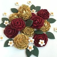 Red & Gold Roses Bouquet Sugar Paste Flowers Cake Decorations Toppers
