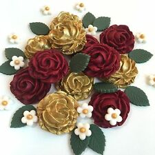 Red & Gold Roses Bouquet Edible Sugar Paste Flowers Cake Decorations Toppers
