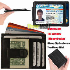 Mens Leather Wallet Money Clip Credit Card ID Holder Front Pocket Thin Slim USA