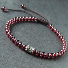 Men's Women Braided Bracelet High Quality Garnet Sterling Silver Bead DIY-K 889