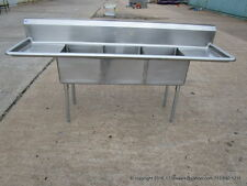 "Stainless Steel 3 Compartment Sink, 18Ga, Bowl Size 18""x18""x12"" , 2x18"" D/B, NSF"