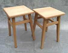Set x2 Solid Beech Wooden Kitchen Stools