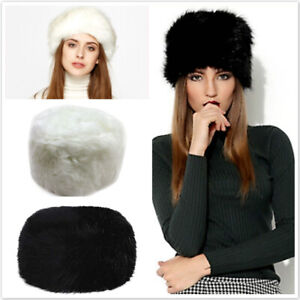 Women Faux Fur Russian Hat Black Fluffy Cossack Holiday Hat Ski Cap Winter 56cm