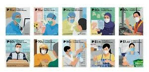SINGAPORE 2021 VIRUS 19 A TRIBUTE TO FRONTLINE HEROES COMP. SET 10 STAMPS MINT
