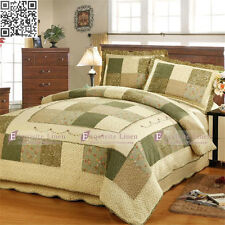 Vintage Cotton Patchwork Quilt Bedspread Coverlet Throw Rug 3pcs Queen King Size