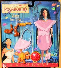 DISNEY BARBIE POCAHONTAS WINTER DRESS 'N PLAY DOLL FASHION w/ACCESS #68452 MOC