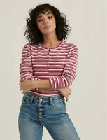 Lucky Brand NEW $45 Sz S L/S Pink Stripe Thermal Henley Pullover Tee