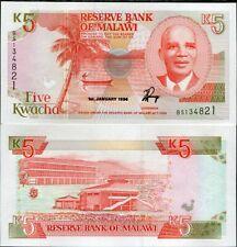 MALAWI 5 KWACHA 1994 P 24 b UNC NR