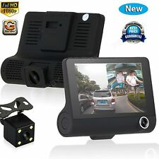 4'' Dual Lens HD 1080P Car DVR Rearview Dash Cam Video Recorder Camera G-sensor#