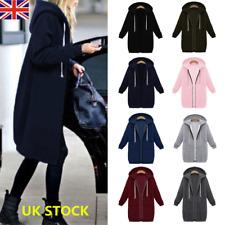 Plus Winter Warm Women Zip Up Hooded Hoodies Coat Long Sleeve Jacket Outwear