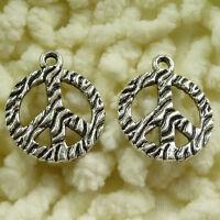 free ship 200 pcs tibetan silver peace symbol charms 24x20mm #3041