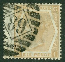 SG 123 6d pale-buff plate 12. Good used with '89' London numeral CAT £350