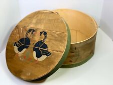 Vintage Handmade Hand Painted Country Ducks Wooden Circular Hat Shaker Box