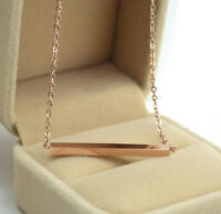 18K Rose Gold Filled Women's Girl's Solid Lucky Bar Pendant Charm Necklace Chain