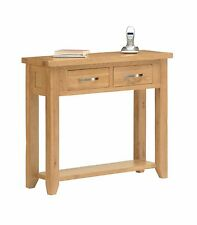 Oakland Oak Hall Console Table with Two Drawers & Shelf / Solid Wood / NEW