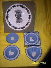 "*5 Pieces Of Wedgwood, 4 Jasperware 4"" Trinket Dishes, 1 Black Hawk Plate 8"""
