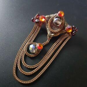 Laly Cohen Israeli Designer Brooch Copper Crystals Beads handmade signed