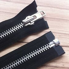YKK BEST QUALITY BLACK METAL OPEN END ZIP- WITH SILVER TEETH- CHOOSE YOUR SIZE