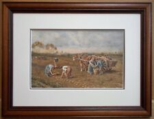 Potato Picking. Watercolour by listed Yorkshire artist John Cecil Lund c1980