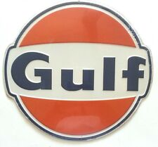 GULF OIL GAS METAL TIN GARAGE SIGN GASOLINE RUSTIC VINTAGE 1960'S ADVERTISING
