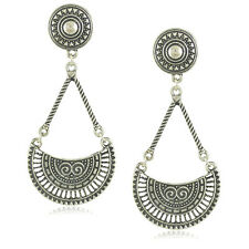 Big Long Drop Earrings Ethnic Tribal Hippy Boho Dangle VTG Silver Tibetan Large