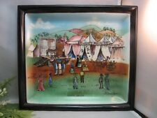 Vtg hand painted Chase ceramic wall art plaque.Astrology tent at Country auction