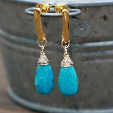Natural Arizona Turquoise Earrings 18k Yellow Gold Filled , December Birthstone