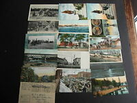 17 USA older postcards boats,cars,trains,military etc check them out!