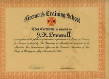 1947 POST WW2 CANADIAN JAMES BROWNELL FIRE FIGHTER TRAINING CERTIFICATE WINNIPEG