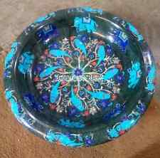 """12"""" Black Marble Bowl Turquoise Parrot Elephant Multi Inlay Floral Design Decor"""