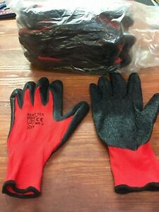 NITRILE COATED Red Black Nylon Work Gloves Builders Gardening Grip and Grab Kent