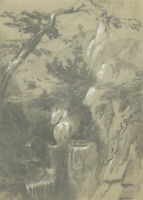 Mid 19th Century Graphite Drawing - Valley landscape