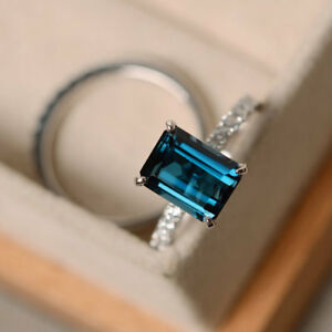 2.90 Ct Real Topaz Diamond Engagement Ring Emerald Cut Band Set 14K White Gold