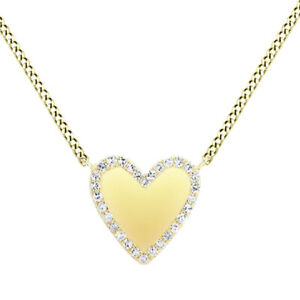 1/10 Ct Round Cut Simulated Solid 14K Yellow Gold Trimmed Heart Pendant Necklace