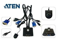 Aten CS22U 2-Port USB Cable KVM Switch with Remote Port Selector