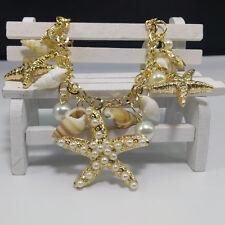 Trendy Starfish Sea Star Conch Shell Pearl Chain Beach Bracelet Bangle Jewelry