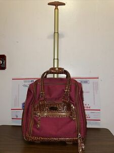 SAMANTHA BROWN OMBRE CROC Burgandy CAMEL CARRY ON UNDERSEAT Rolling Travel BAG