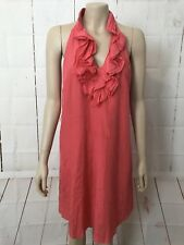 ENVIOUS Sz 10 Coral Racer Back Ruffled Neck Midi Dress Loose Relaxed Fit Lined