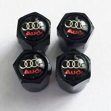4 x Matt Black Tyre Valve Dust Caps (Fits AUDI)