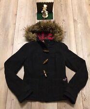 Hollister by Abercrombie Women's Faux fur Trim Hooded Wool Jacket Coat Navy XS