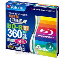 5 VERBATIM 3d Blu Ray Dischi 50gb BLURAY DVD BD-R DL a Getto D'InchIostro Stampabile 6x velocità