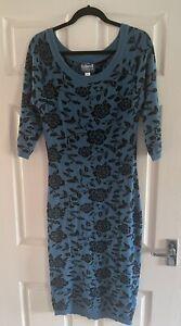 Collectif Ivana Teal Jumper Midi Dress, Size 2XL Ladies Size 18